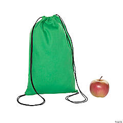 Small Green Canvas Drawstring Bags