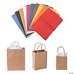 Small, Medium & Large Kraft Paper Bags & Assorted Tissue Paper Kit