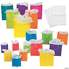 Small, Medium & Large Neon Gift Bags & White Tissue Paper Kit