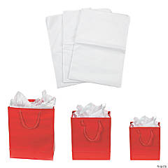 Small, Medium & Large Red Gift Bags & Tissue Paper Kit