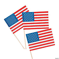 """Small Paper American Flags on Sticks - 4 1/2"""" x 3"""""""