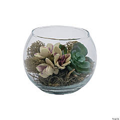 Small Round Glass Vase with Succulents