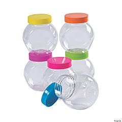 Small Round Storage Jars with Bright Lids