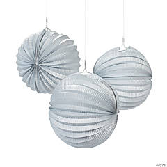 Small Silver Hanging Paper Lanterns