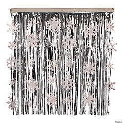 Small Snowflake Metallic Fringe Backdrop Curtain