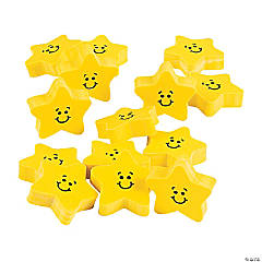 Smile Face Star Erasers - 24 Pc.