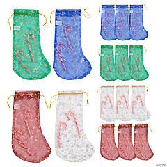 Snowflake Christmas Stocking Drawstring Bags