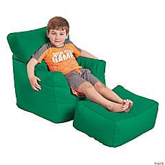 SoftScape Bean Bag Chair and Ottoman - Green