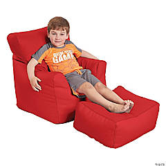 SoftScape Bean Bag Chair and Ottoman - Red
