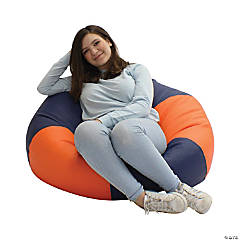 SoftScape Classic 38 in Large Bean Bag - Orange/Navy