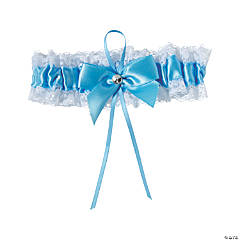 Something Blue Garter with White Lace Trim