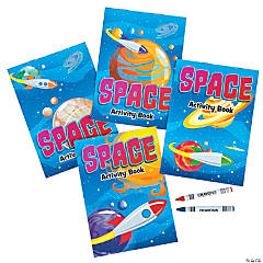 Space Activity Books with Crayons