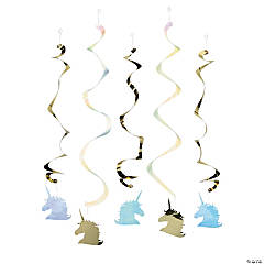 Sparkle Unicorn Hanging Swirl Decorations - 5 Pc.