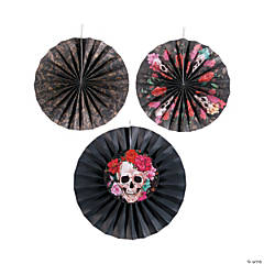 Spooky Floral Tissue Hanging Fan Halloween Decorations