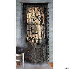 Spooky Lighted Lace Curtain Panel Halloween Décor