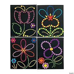 Spring Flowers Dot Sticker Art
