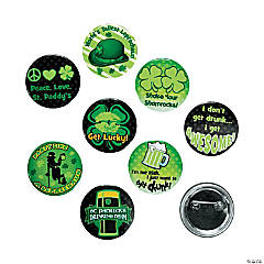 St. Patrick's Day Glow-in-the-Dark Party Buttons PDQ