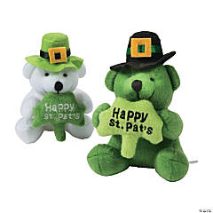 St. Patrick's Day Stuffed Bears with a Shamrock