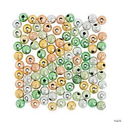 St. Patrick's Glitter Round Beads - 6mm
