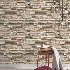 Stacked Stone Grey/Brown Peel & Stick Wallpaper
