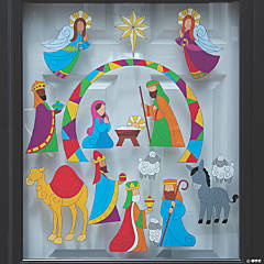 Stained Glass Nativity Window Clings