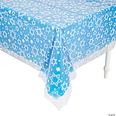 Star of David Clear Plastic Tablecloth
