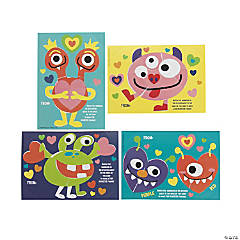 Sticker by Number Monster Valentine's Day Cards