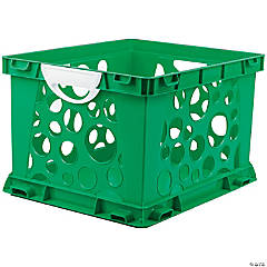 Storex Premium File Crate with Handles, Classroom Green