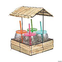 Straw Hut with Glass Cups & Straws