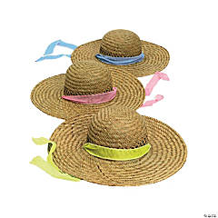 Straw Sun Hats with Solid Band