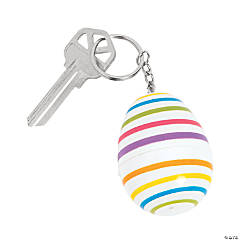 Striped Plastic Easter Egg Keychains