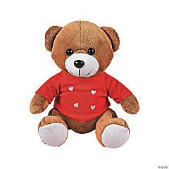 Stuffed Bear Wearing Heart Print Shirt