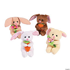 Stuffed Bunnies with Flowers & Carrots