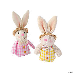 Stuffed Easter Bunny Couple with Hats Tabletop Decoration