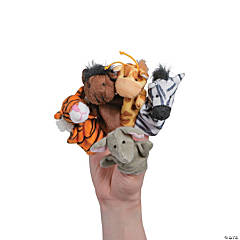 Stuffed Jungle & Farm Animal Finger Puppets