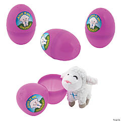 Stuffed Lamb-Filled Religious Easter Eggs - 12 Pc.