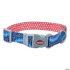 "Sublime 1.5"" Adjustable Dog Collar-Blue Diamonds W/Dots, Neck Size 18""-26"""