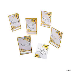 Sunflower Wedding Table Signs & Frames Set