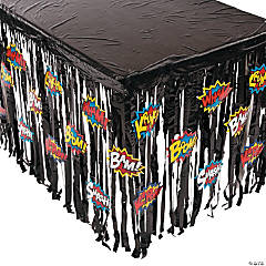 Superhero Fringe Plastic Table Skirt with Cutouts