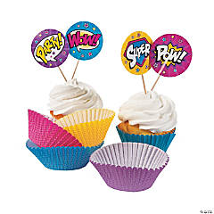 Superhero Girl Cupcake Liners with Picks