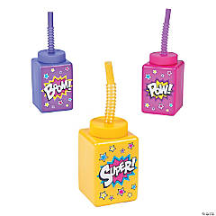 Superhero Girl Cups with Lids & Straws