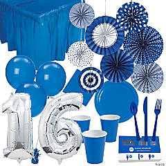 Sweet 16 Boy's Birthday Party Tableware Kit for 24 Guests