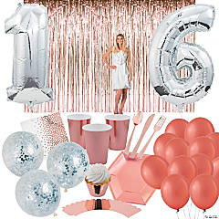 Sweet 16 Girl's Birthday Party Tableware Kit for 8 Guests