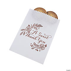 Sweet Thank You Rose Gold Foil Paper Treat Bags