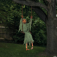 Swinging Dead Pumpkin Halloween Decoration