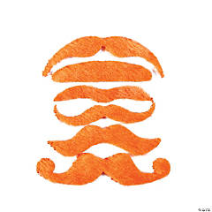 Synthetic Orange Mustache Assortment