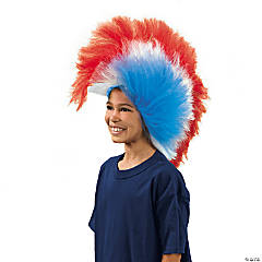 Synthetic Patriotic Mohawk Wig