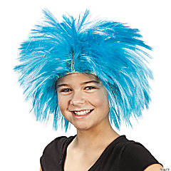 Synthetic Spiky Blue Wig