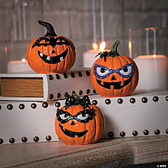 Tabletop Jack-O'-Lanterns with Masks Halloween Décor