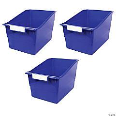 Tattle® Shelf File with Label Holder, Wide, Blue, Set of 3